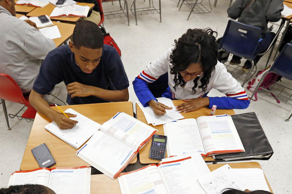 Clarksdale High School students study math in Clarksdale, Miss.