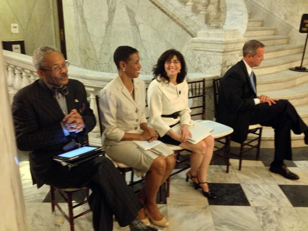 From left, Chief Judge Robert M. Bell, U.S. Rep. Donna Edwards, pro bono project executive director Sharon Goldsmith and Gov. Martin O'Malley attend a ceremony thanking lawyers who volunteered their services to help homeowners in danger of foreclosure.