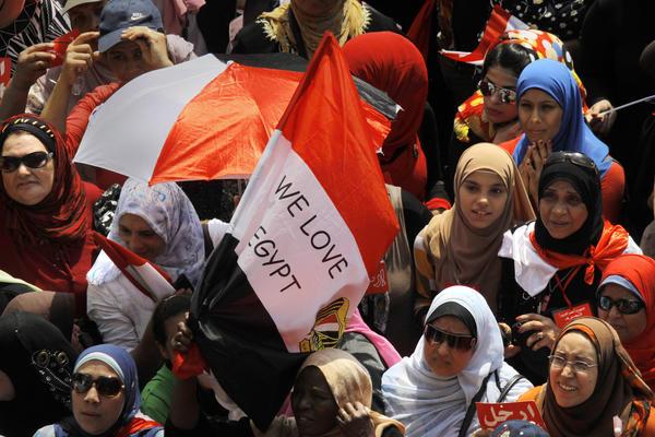Opponents of Egyptian President Mohammed Morsi protest in Tahrir Square in Cairo.