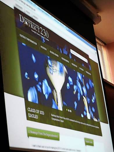 Previews of Consolidated High School District 230's new websites were presented at the May 30 board meeting.