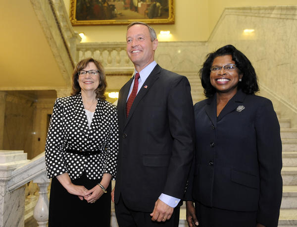 Governor Martin O'Malley, center, named Judge Mary Ellen Barbera, left, as Chief Judge of the Court Of Appeals. He also named Judge Shirley Watts, right, to the Court of Appeals.