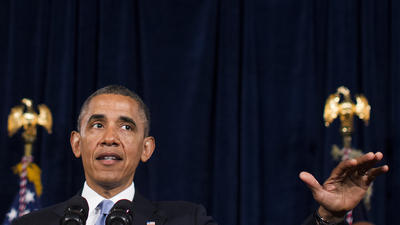 President Barack Obama speaks about Affordable Care Act in June.