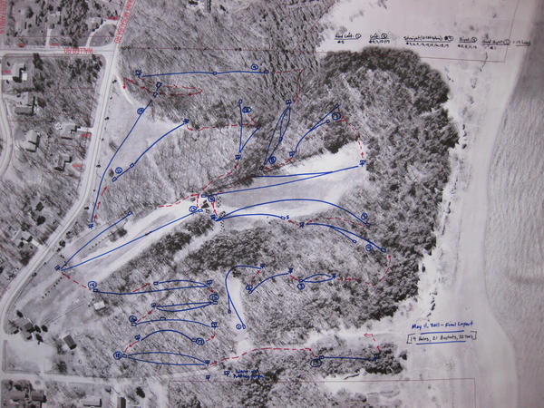 This aerial photo from 2011 show the Mount McSauba Recration area. The lines drawn on the map represent the location for a disc golf course that was proposed at the time and that is expected to open soon.