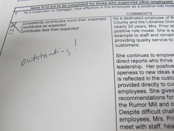 Elizabeth Prior had a good, recent evaluation in her personnel file.