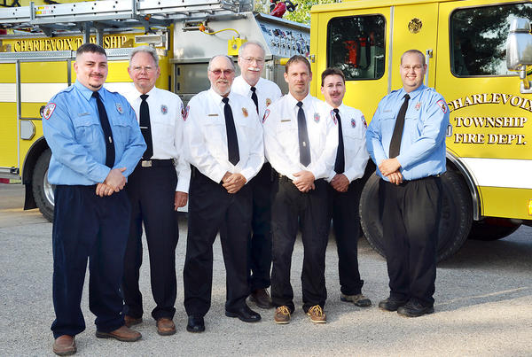 The new slate of officers for the Charlevoix Township Fire Department are (from left), Lt. Gary Loper, Capt. Fred Parson, assistant chief Dave Christensen, administrative assistant Steve Paterka, chief Dan Thorp, Capt. Greg Seese, and Lt. Corey Wells.