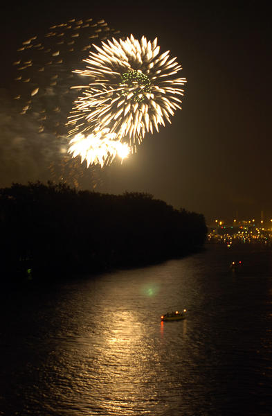 Fireworks can be seen in this photo from 7/1/06. (Courant photo by Cloe Poisson)