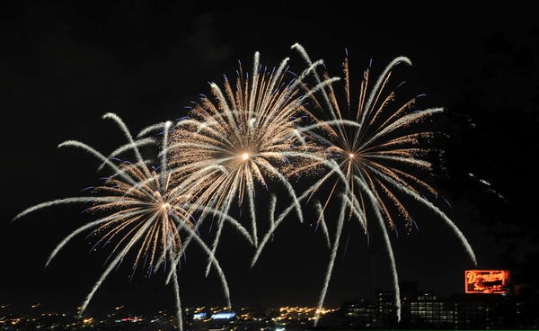 Fireworks decorate the night sky over the Inner Harbor in celebration of Independence Day in 2011.