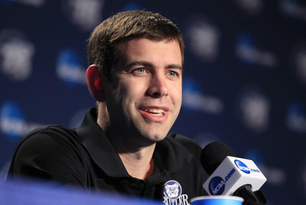 Butler head coach Brad Stevens answers questions during an interview session for the NCAA tournament at Rupp Arena in Lexington, Kentucky, Friday, March 22, 2013.