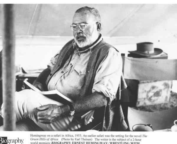 Ernest Hemingway, shown on safari in Africa in 1953.