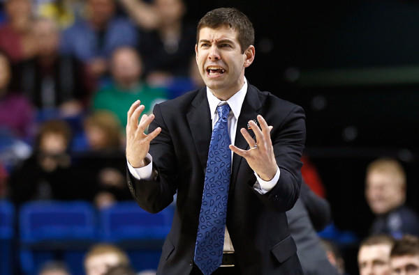 Brad Stevens reacts to a call in the second half of Butler's game against Marquette in the NCAA tournament.