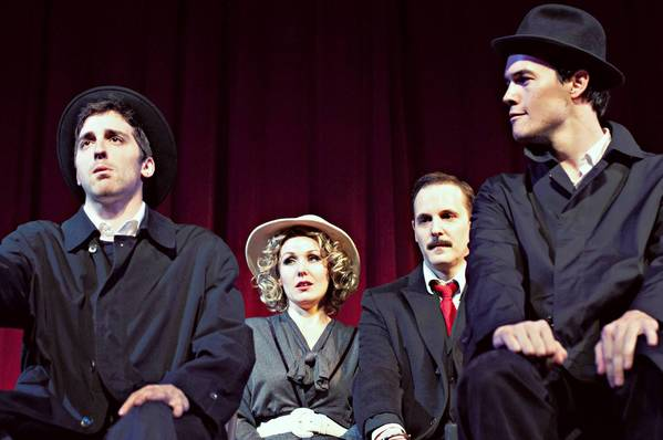 "Cast members of the Bay Street Players' production of ""The 39 Steps,"" from left, Adam Scharf, Jennifer Bonner, Will Hagaman and Brett Waldon."