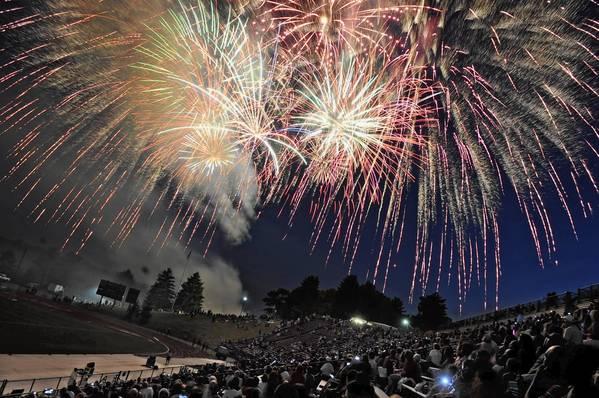 Fireworks explode over J. Birney Crum Staduim in 2011.