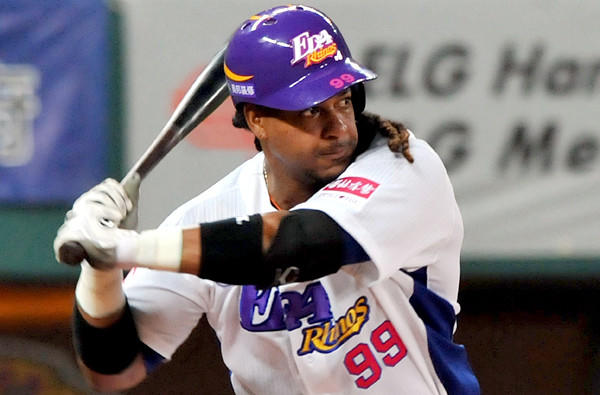 Former major leaguer Manny Ramirez prepares to take a swing while playing for the EDA Rhinos in Taiwan's pro league this spring.