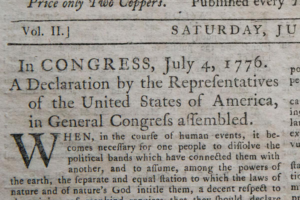 The first known newspaper printing of the Declaration of Independence, printed on July 6, 1776 in The Pennsylvania Evening Post, is seen after being auctioned at Robert A. Siegel Galleries in New York City.