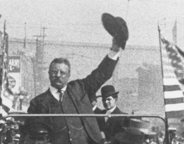 In 1906 pro-immigration Republicans in the House worked with the Republican administration of President Theodore Roosevelt to secure support from enough restrictionist Republicans in the Senate to pass a mostly pro-immigration bill. Above: Roosevelt on the 1912 campaign trail in Los Angeles.