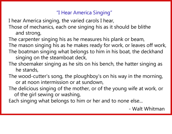 appreciation of i hear american singing I hear america singing, the varied carols i hear: those of mechanics—each one singing his, as it should be, blithe and strong the carpenter singing his, as he measures his plank or beam,.