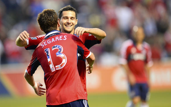 Dilly Duka reacts after scoring a goal with Gonzalo Segares during the first half at Toyota Park.