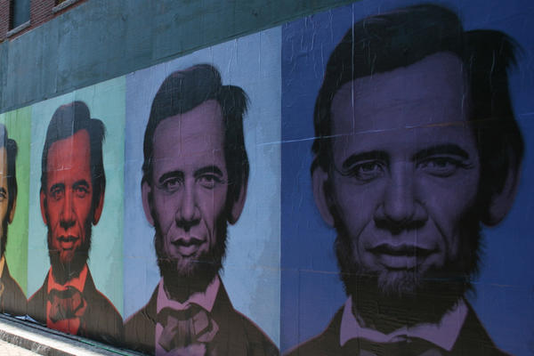 "Ron English's ""Abraham Obama"" mural that went up in Boston on July 4th 2008. Daniel Lahoda is dressed as Lincoln."