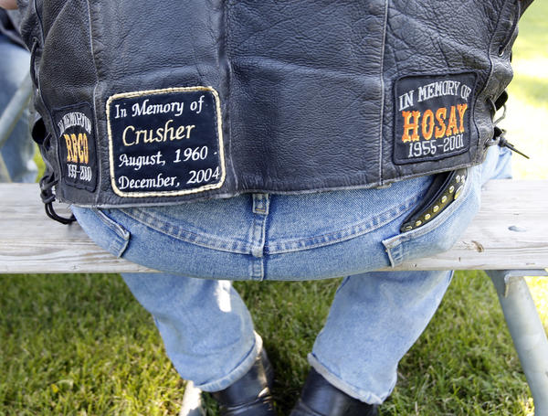 "Patches honoring his riding friends adorn the vest Don ""Tuna"" Larson wore Wednesday evening at the Cackle Brothers Poker Run."