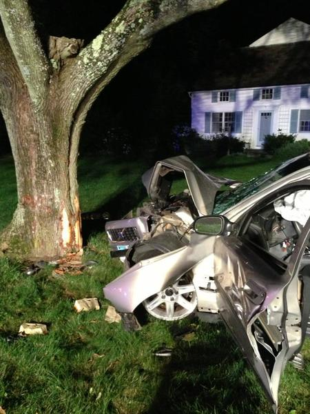 A car crashed into a tree in the area of Church Street and North Cove Road in Old Saybrook early Thursday sending one person to the hospital.