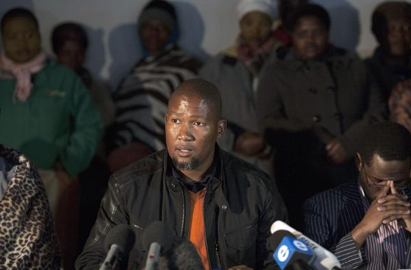 The grandson of ailing former South African President Nelson Mandela, Mandla Mandela, during a news conference at his home Thursday.
