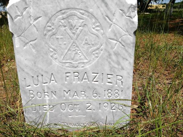 The gravestone of Lula Frazier, believed to be the youngest daughter of Anthony Frazier, the black Civil War soldier whose headstone was found lying flat in a field near a highway construction project in Orange County.
