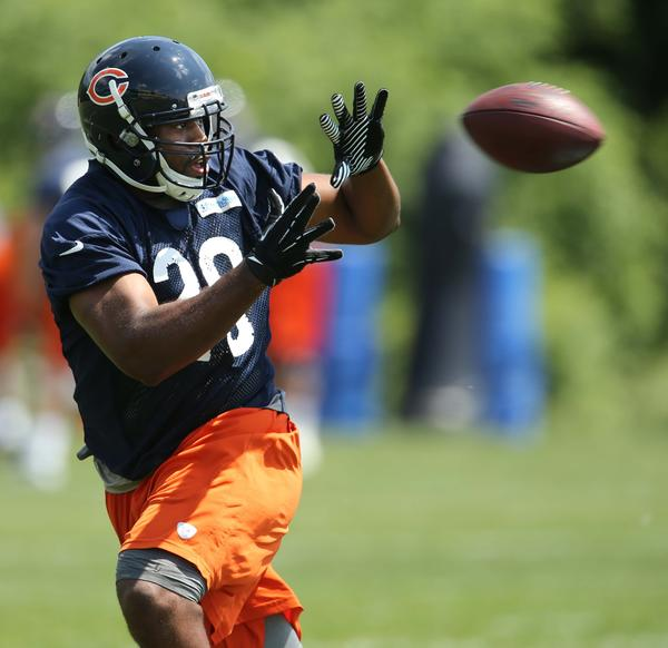 Running back Michael Bush during the first day of Bears mini-camp at Halas Hall in Lake Forest.