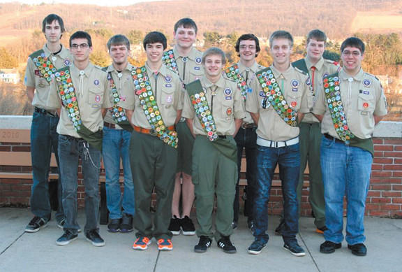 Smithsburg High School's Class of 2013 had 11 Eagle Scouts, including 10 from Boy Scout Troop 62 in Chewsville. Pictured, front row, from left, are Austin Lane, Colton Duvall, L.J. Etter, Connor Brown and Jared Banzhoff; and back row, Josh Gladhill, Mason Beck-Schmieder, Alex Tibbens, Josh Yoder and Ben Connelly.