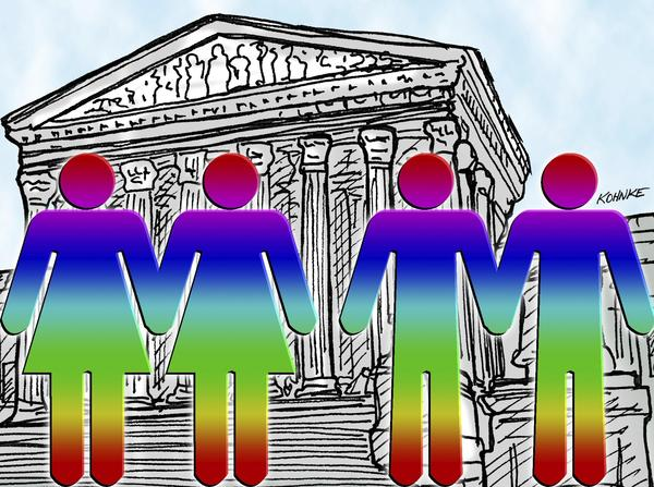 This artwork by Jennifer Kohnke relates to the Supreme Court decision on gay marriage.