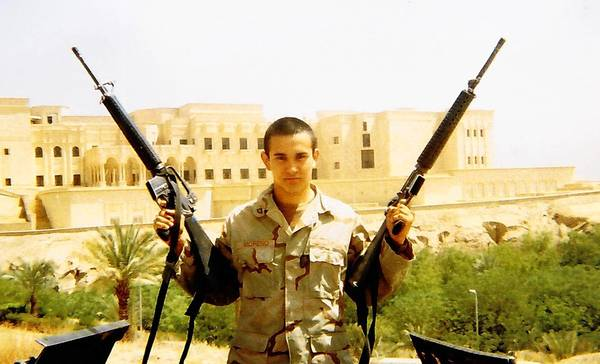 "Ruben Moreno Garcia is shown during his deployment. Assigned to an engineer company, Moreno Garcia spent much of his time in Iraq ""outside the wire,"" responding to situations where U.S. vehicles had been attacked by roadside bombs."
