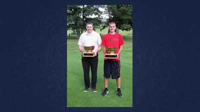 The 13th annual Somerset County Amateur Golf Championship will be held July 13 at Oakbrook Golf Course. Seen here with the trophies are Tim Gustin, head golf professional at Oakbrook and golfer Austin Speigle. The event is open to all Somerset County residents and will have multiple men's, women's and junior divisions. The deadline to enter is July 11. You can play any time during the day, but must play with at least one other competitor. Call Oakbrook at 814-629-5892 to reserve a tee time.