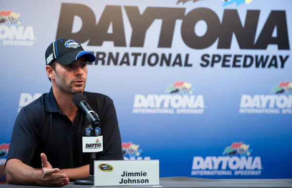 Jimmie Johnson discusses the upcoming Coke Zero 400 race at Daytona International Speedway Thursday.