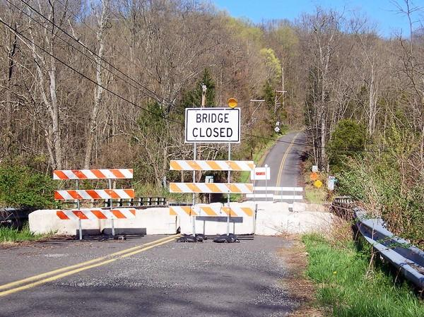 Cressman's Mill Bridge on Township Road in Springfield Township has been closed since March 2012, one of many deteriorating bridges in the region in need or repair or replacement.