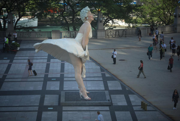 The Marilyn Monroe statue that used to stand in Pioneer Court on Michigan Avenue.