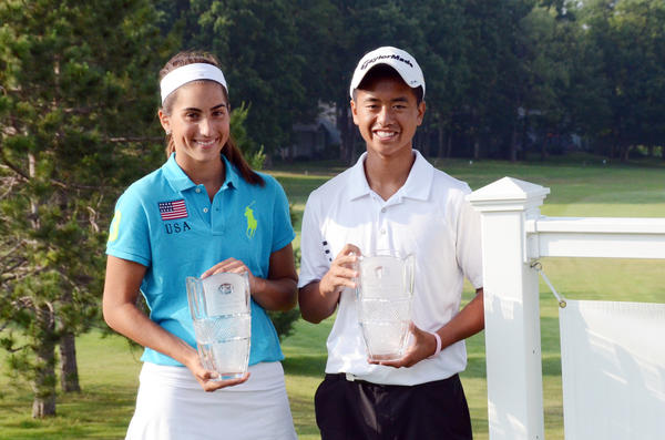 Jacqueline Setas (left) of East Lansing was the girls division winner, while Henry Do of Canton won the boys division title at the American Junior Golf Associations Coca-Cola Junior Championship Thursday at Boyne Highlands Heather Course. Do finished at 5-under 211 for the tournament, while Setas went wire-to-wire, finishing at 222 for the victory.