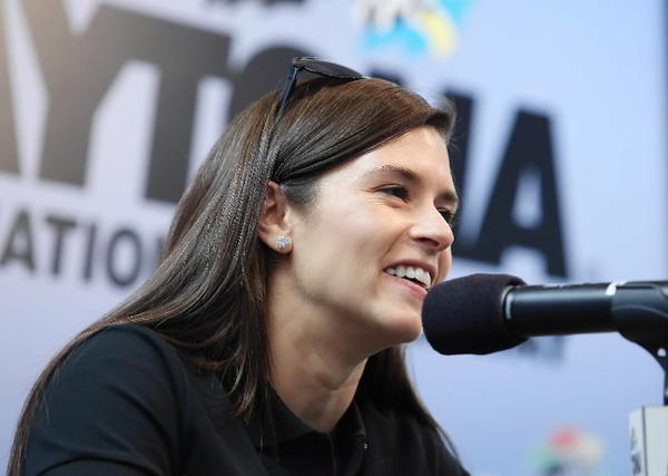 Danica Patrick talks with reporters about the upcoming Coke Zero 400.