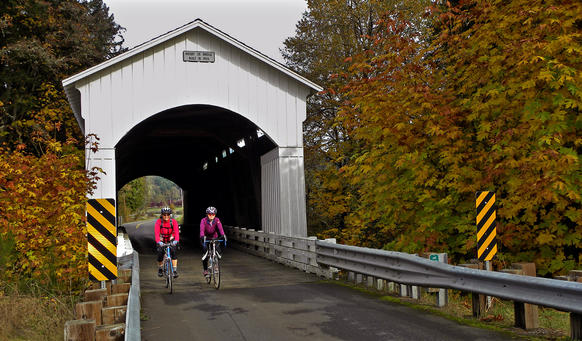 The Mosby Creek bridge, near Cottage Grove, was built in 1920 and is among the 20 covered bridges in Lane County. It continues to be used by motor vehicles.