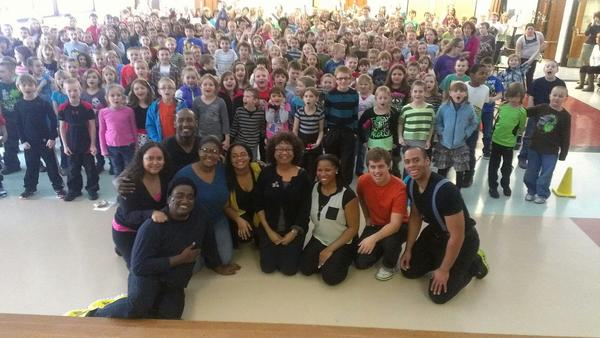 Students and faculty from the University of Central Florida (front) presented a play about the Rev. Martin Luther King Jr. to elementary-school students in Central New York this spring.