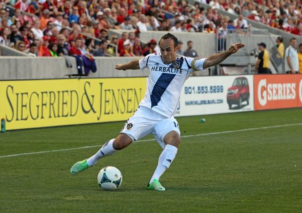 The Galaxy's Landon Donovan shoots against Real Salt Lake on June 8.