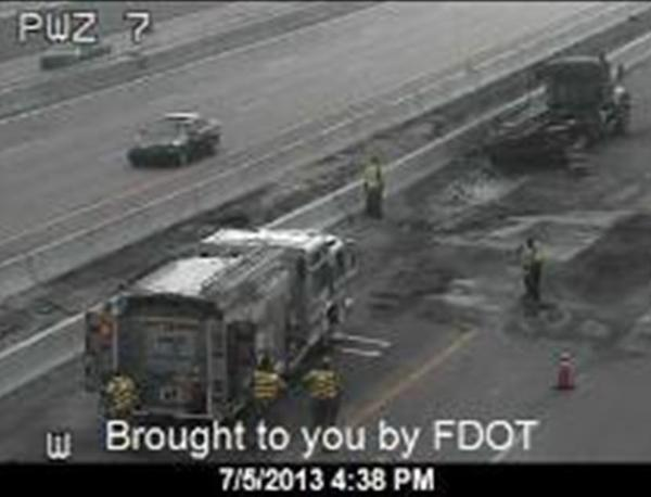 Truck fire shuts down westbound I-595 in Davie