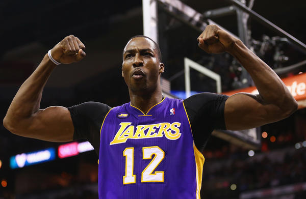 Dwight Howard during a Lakers game in the playoffs this season.