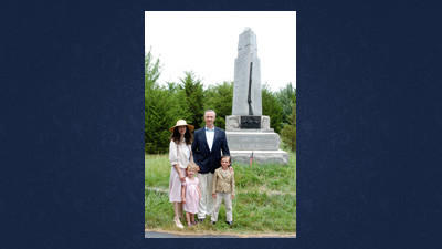 Capt. Gratian Yatsevitch (USAR ret.) of Somerset was in Gettysburg Wednesday with his family, Monica, Gratian and Clara. They are standing in front of a monument to the 6th Corps on Howe Avenue, named after his great-grandfather, commanding General Albion Howe.