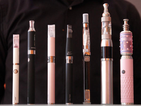 An assortment of ecigarettes ready for use.