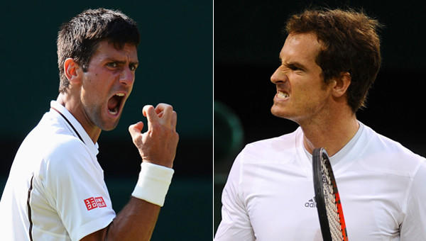 Novak Djokovic, left, will face Andy Murray for the Wimbledon men's singles championship on Sunday.
