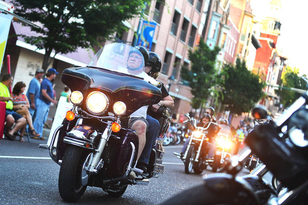 Motorcycle riders enjoy the kick off to Hagerstown Bike Week with City Center Bike Night in downtown Hagerstown Friday.