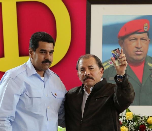 Venezuelan President Nicolas Maduro, left, and Nicaraguan President Daniel Ortega, seen at a meeting last month, have both offered asylum to U.S. intelligence leaker Edward Snowden, who is believed to have been stranded at a Moscow airport since June 23.
