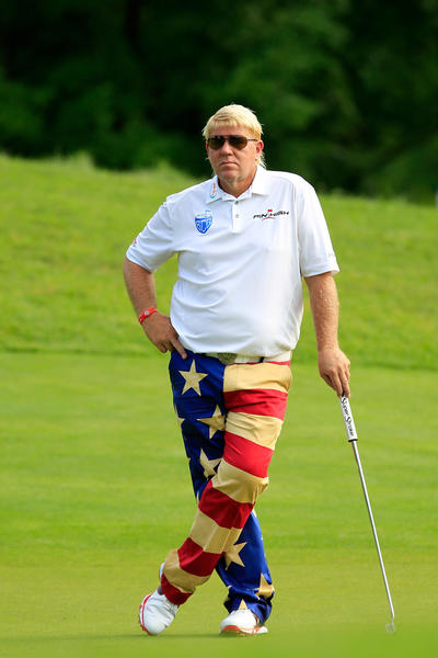 John Daly looks on from the 8th green during round one of the Greenbrier Classic at the Old White TPC on July 4.