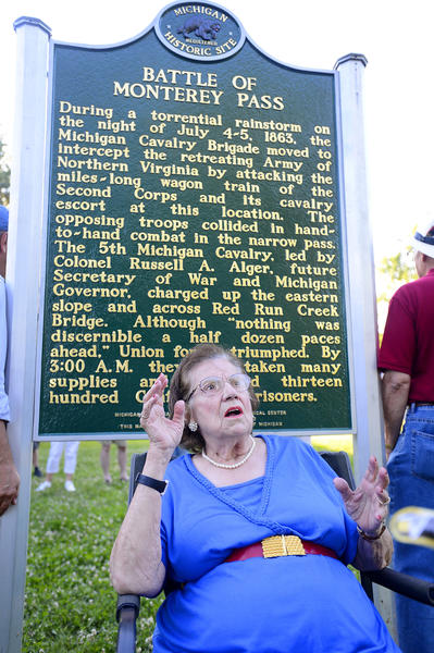 Mary Rae Cantwell of Blue Ridge Summit, Pa., was on hand Friday for the dedication of a plaque marking the Civil War Battle of Monterey Pass. Cantwell sold the site of the marker to Washington Township in 2011.