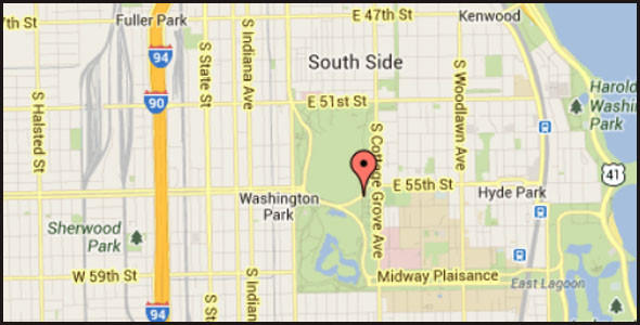 Map of fatal motorcycle accident near Washington Park on the city's South Side.