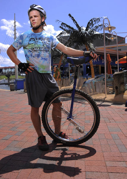 Unicyclist Cary Gray will attempt to break the Guiness World Record for longest unicycle trip.